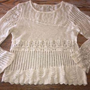 J JILL ivory merino rabbit crochet knit sweater